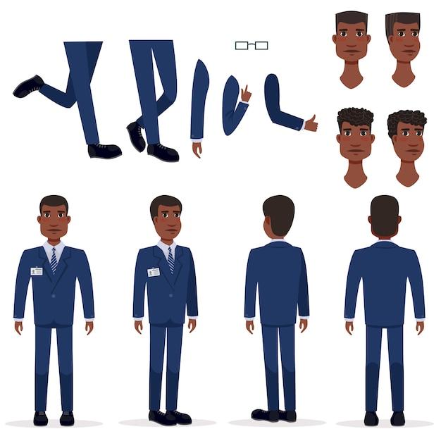 Vlakke pictogrammenreeks van de zwarte bedrijfsmens Gratis Vector