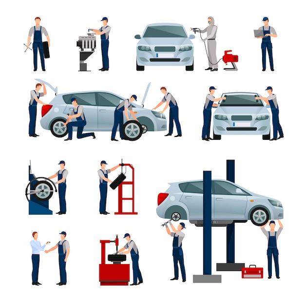 Vlakke pictogrammenreeks verschillende arbeiders in auto Gratis Vector