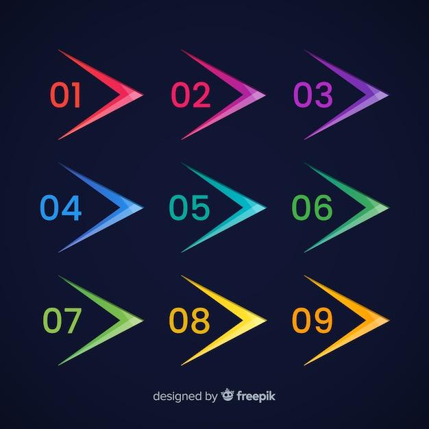 Vlakke pijl opsommingsteken verzameling Gratis Vector