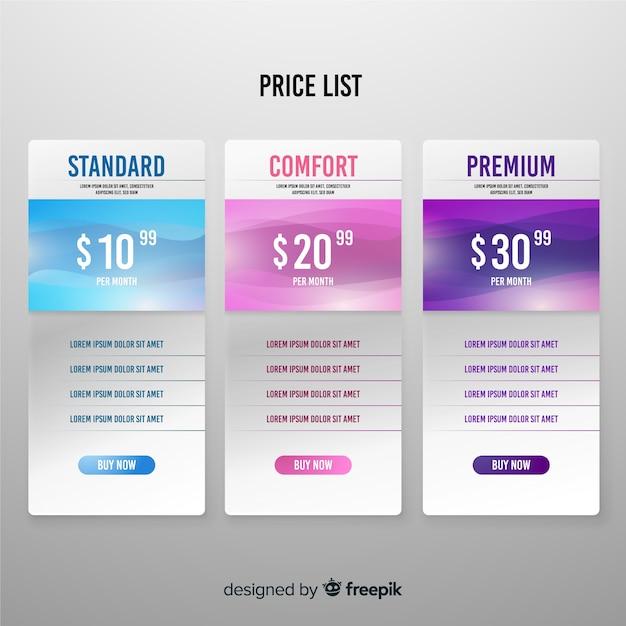 Vlakke prijslijst Premium Vector