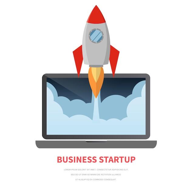Vlakke raket die van laptop, startconcept vliegt. Premium Vector