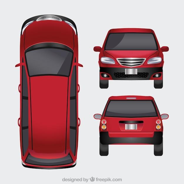 Vlakke rode auto in verschillende standpunten Gratis Vector