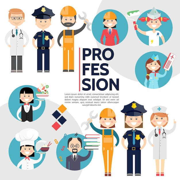 Vlakke samenstelling van mannelijke en vrouwelijke beroepen met artsen, politieagenten, bouwers, ingenieur, schilder Gratis Vector