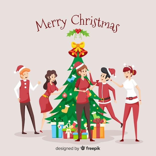 Vlakke scène van de familie van kerstmis Gratis Vector