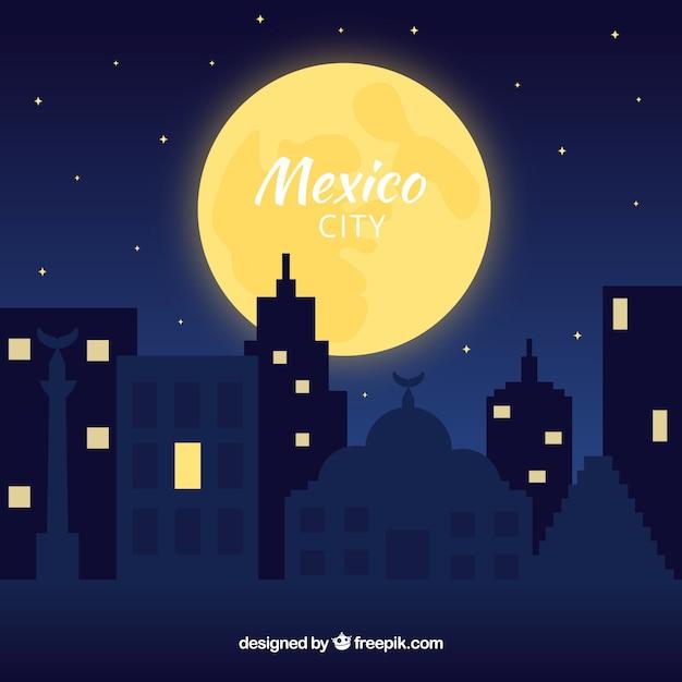 Vlakke stad van mexico bij nachtachtergrond Gratis Vector