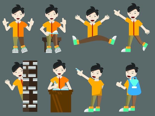 Vlakke stijl cartoon set jonge aziatische jongen student met boeken en tassen Premium Vector