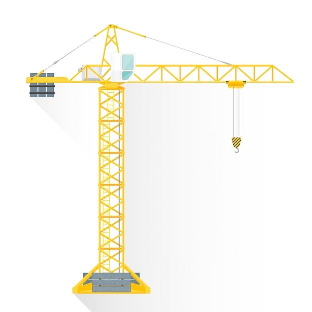 Vlakke stijl gele toren kraan pictogram bouwen Premium Vector