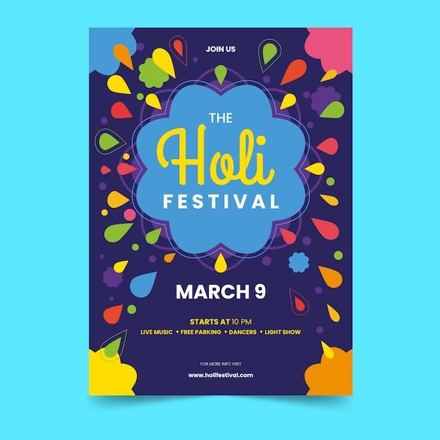 Vlakke stijl holi festival flyer sjabloon Gratis Vector
