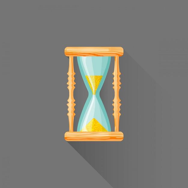 Vlakke stijl houten sandglass pictogram Premium Vector