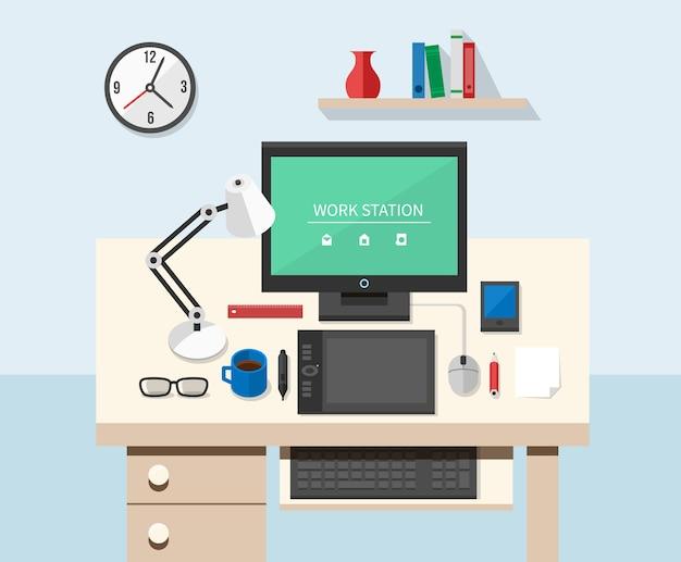 Vlakke stijl kantoorwerkruimte. tafel en computer, ontwerpwerk en monitor Gratis Vector