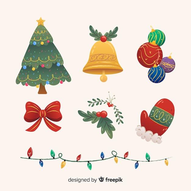 Vlakke stijl kerst element collectie Gratis Vector