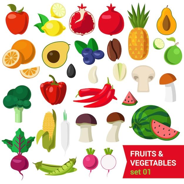 Vlakke stijl mooie kwaliteitsset van groenten en fruit. appel citroen granaatappel ananas avocado sinaasappel pruim koffieboon paddestoel limoen meloen maïs erwten bieten selderij spruiten. creatieve voedselcollectie. Gratis Vector