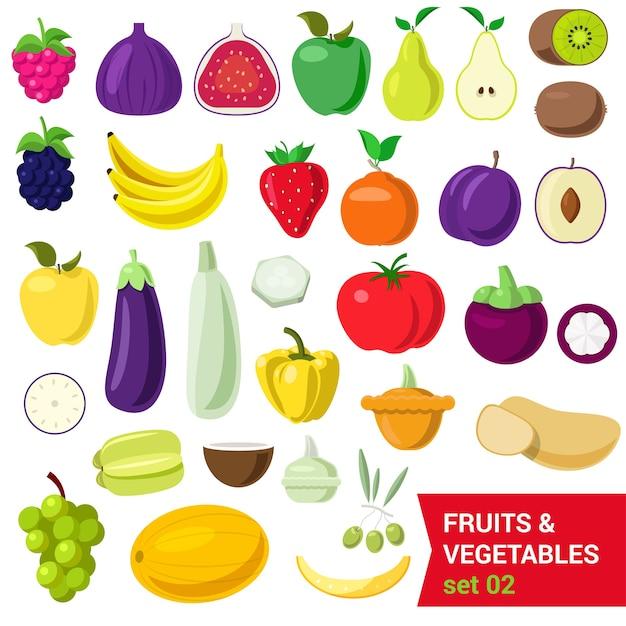 Vlakke stijl mooie kwaliteitsset van groenten en fruit. bes framboos vijgen appel peer kiwi bosbes pruim banaan tomaat aubergine peper aardappel olijf kokosnoot druif meloen. creatieve voedselcollectie. Gratis Vector
