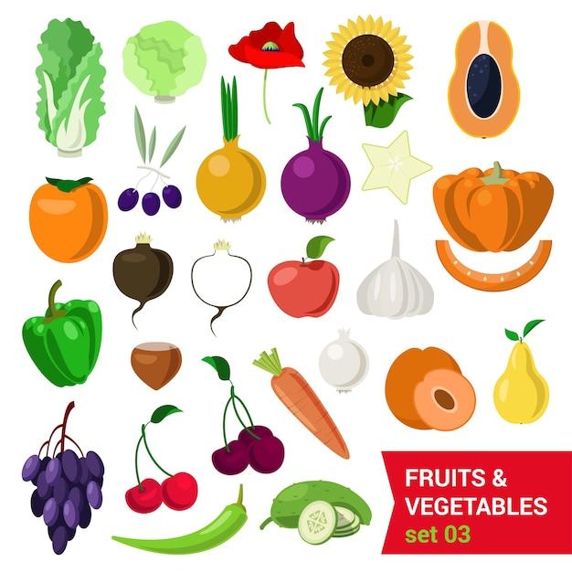 Vlakke stijl mooie kwaliteitsset van groenten en fruit. kool salade zonnebloem moer olijven papaver kaki wortel peer ui carambole appel druif kers komkommer kastanje raap. creatieve voedselcollectie Gratis Vector