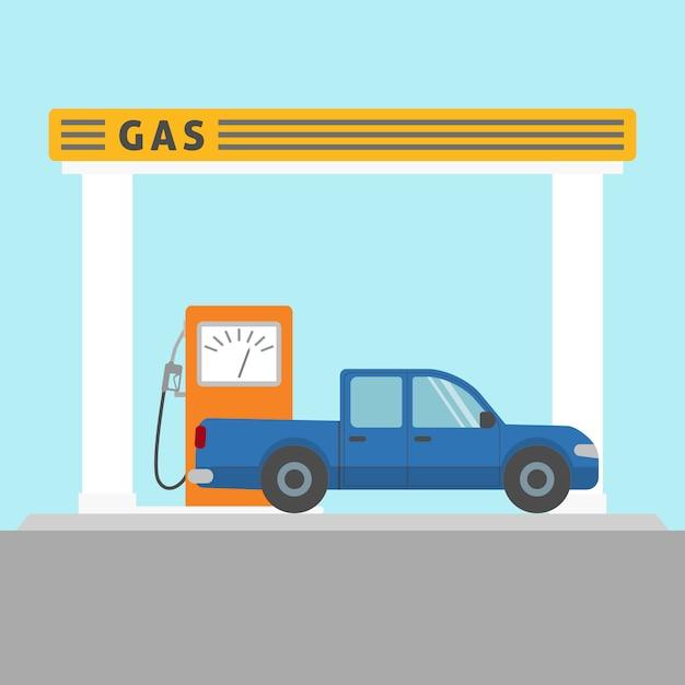 Vlakke stijl pick-up auto bij het benzinestation Premium Vector