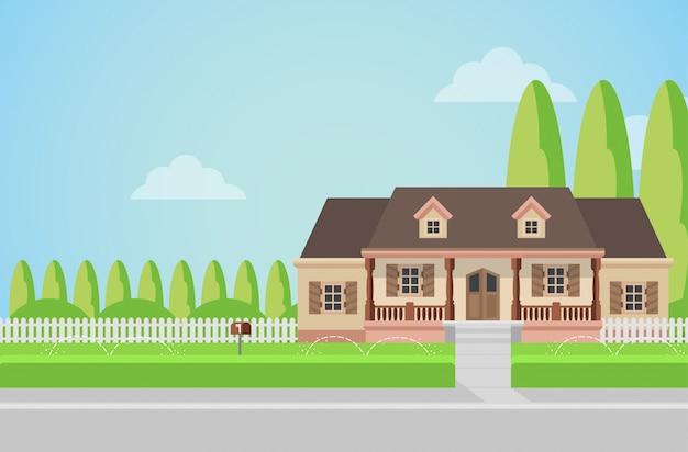 Vlakke stijl platteland gezinswoning met achtertuin gazon concept. Gratis Vector