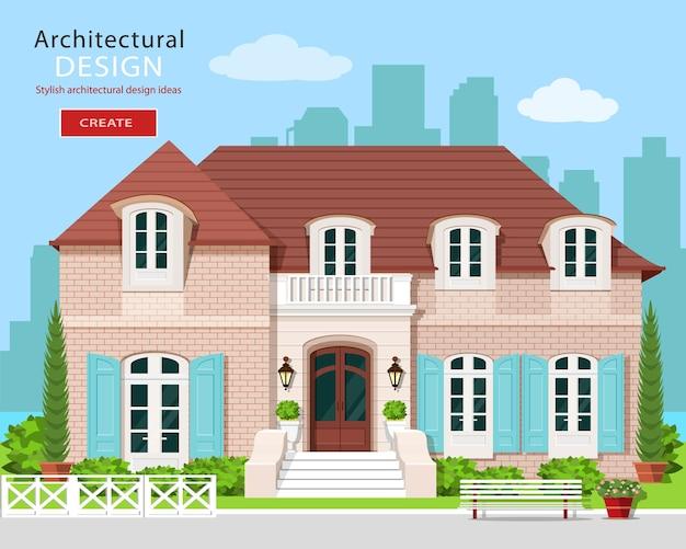 Vlakke stijl schattig vector gebouw met stad achtergrond. Premium Vector