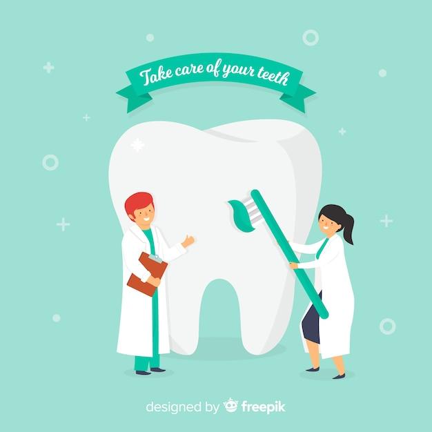 Vlakke tandartsen die een tandachtergrond behandelen Gratis Vector