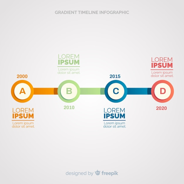 Vlakke tijdlijn infographic Gratis Vector