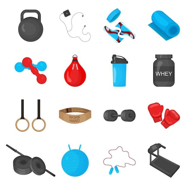 Vlakke trendy kleurenpictogrammen die met elementen van sportuitrusting worden geplaatst Premium Vector
