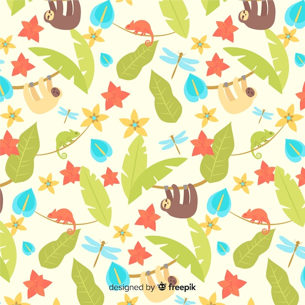 Vlakke tropische bladeren en bloemenachtergrond Gratis Vector