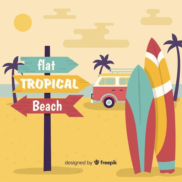 Vlakke tropische strandachtergrond Gratis Vector