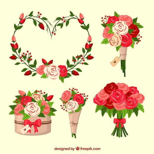 Vlakke valentijnsdag bloemenkransen en boeketten Gratis Vector
