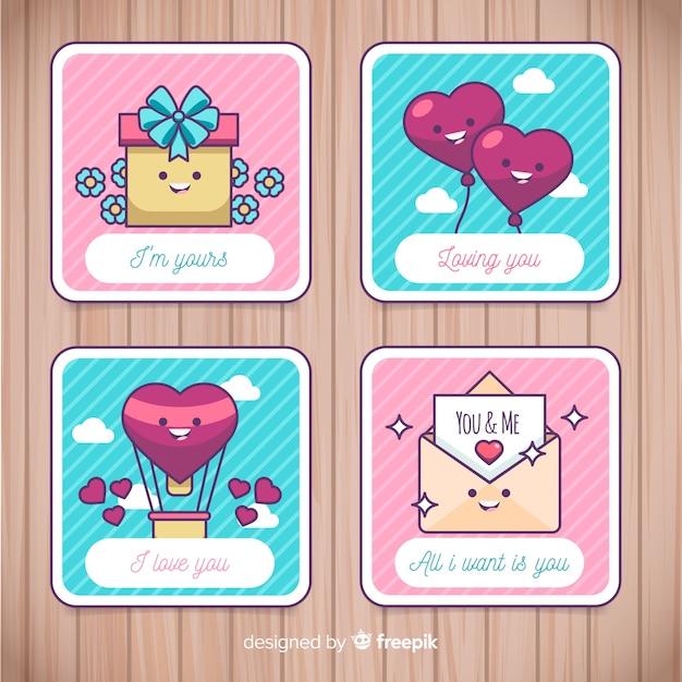 Vlakke valentijnskaart-kaartinzameling Gratis Vector