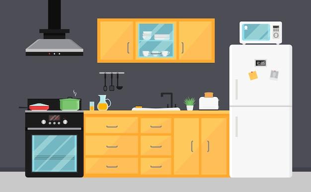 Vlakke vectorkeuken met elektrische toestellen, gootsteen, meubilair en schotels. Premium Vector