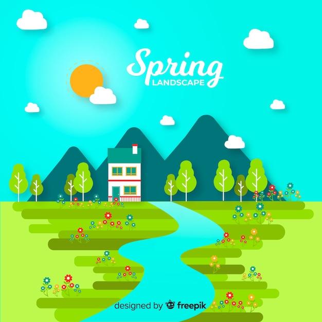 Vlakke veld lente landschap Gratis Vector