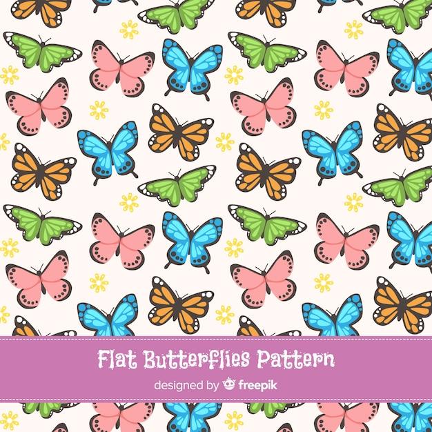 Vlakke vlinders patroon collectie Gratis Vector