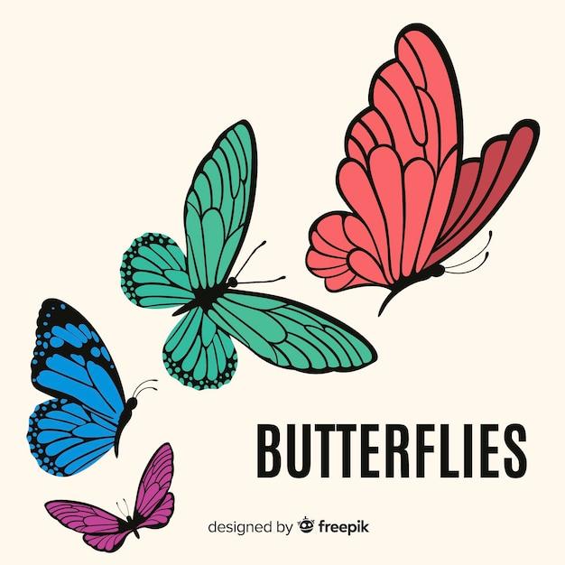 Vlakke vlinders vliegen Premium Vector