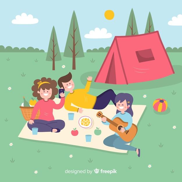 Vlakke vrienden genieten van de zomervakantie Gratis Vector