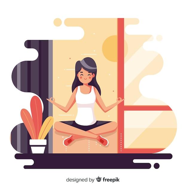 Vlakke vrouw die van de meditatie geniet Gratis Vector
