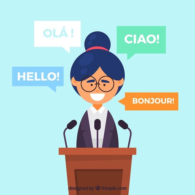 Vlakke vrouw met woorden in verschillende talen Gratis Vector