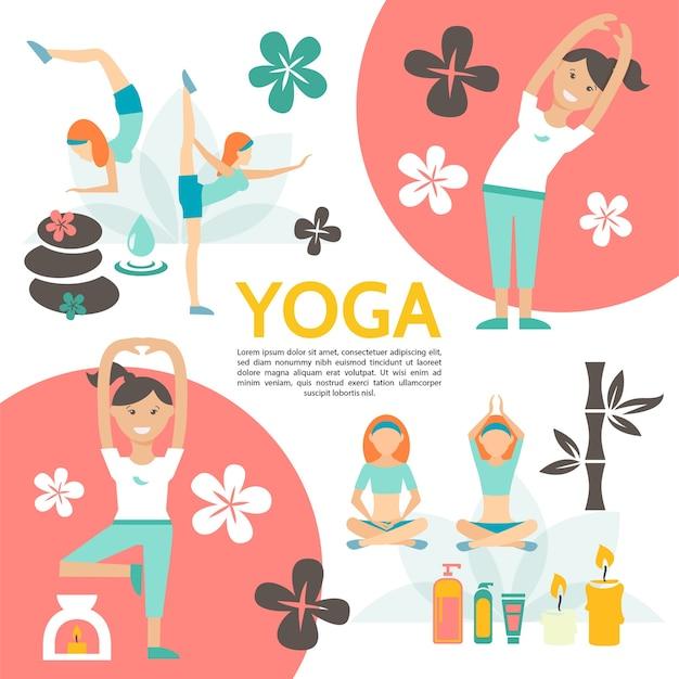 Vlakke yoga en harmonie poster met meisjes oefenen in verschillende poses bloemen spa cosmetische producten kaarsen stenen bamboe illustratie Gratis Vector
