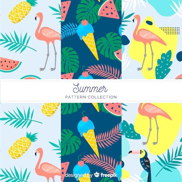Vlakke zomer patroon collectie Gratis Vector