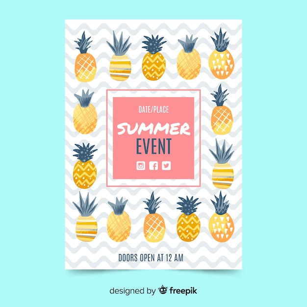 Vlakke zomerfeest poster ananas Gratis Vector