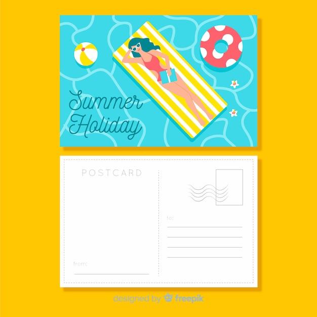 Vlakke zomervakantie briefkaart Gratis Vector