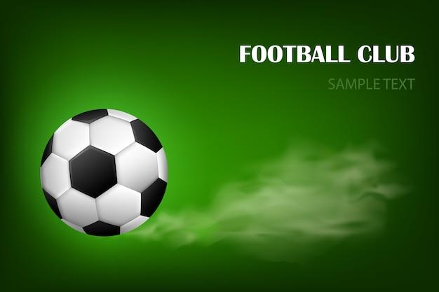 Vlammende voetbal bal vector poster voor sport voetbalwedstrijd. vliegende voetbal met glans bewegingsonscherpte Premium Vector