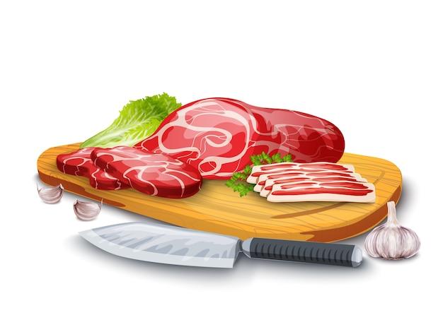 Vlees aan boord Gratis Vector