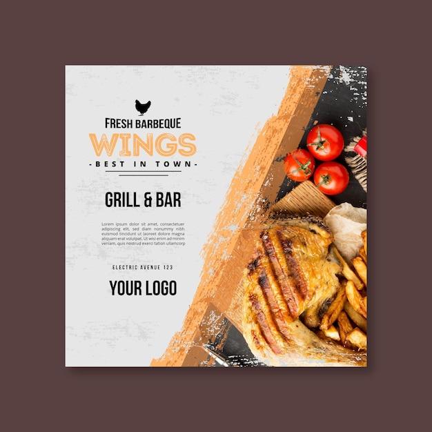 Vlees en groenten bbq-vierkante sjabloon folder Gratis Vector