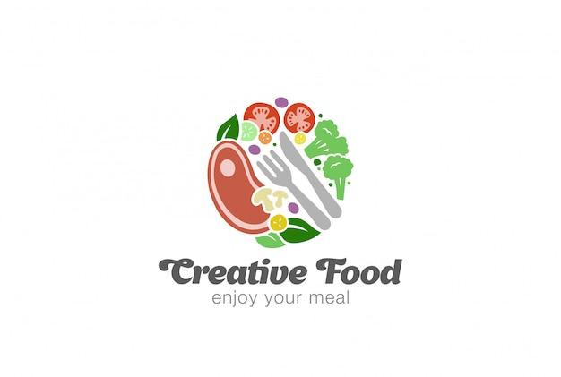 Vlees en groenten logo sjabloon Premium Vector
