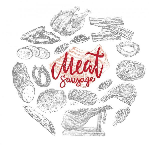 Vlees en worstenproducten rond concept Gratis Vector