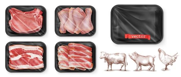 Vlees eten. rundvlees, varkensvlees, kippenpoten. zwarte polystyreen verpakking. Premium Vector