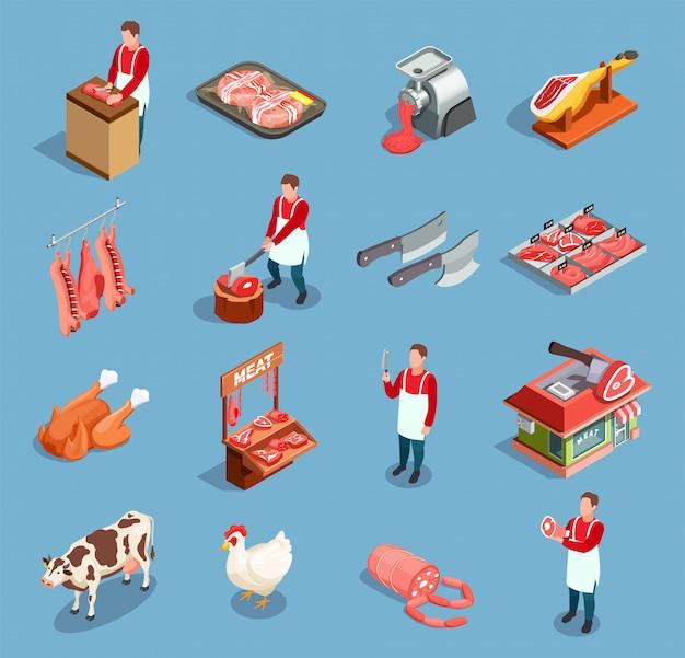 Vleesmarkt icon set Gratis Vector