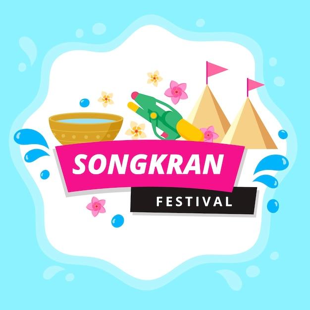 Vlek van water songkran festival Gratis Vector