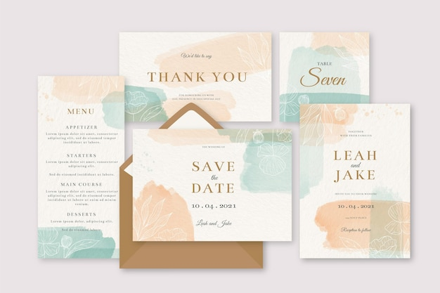 Vlekken gekleurde uitnodiging bruiloft briefpapier Gratis Vector