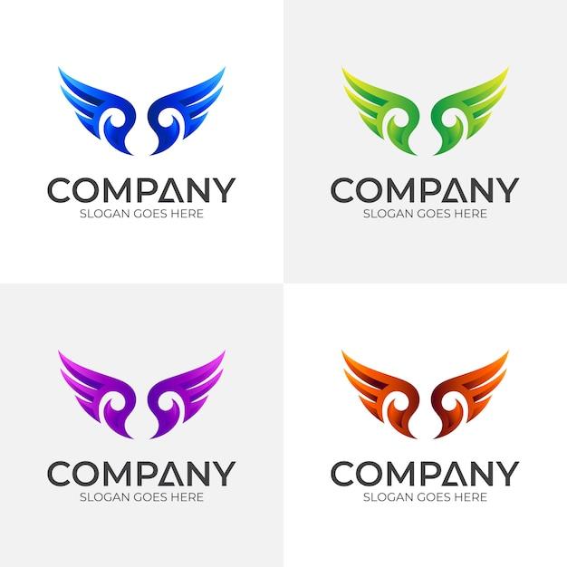Vleugel logo ontwerpsjabloon Premium Vector