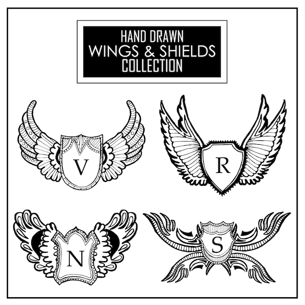 Vleugels en schild collectie Gratis Vector